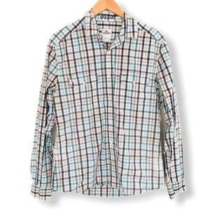 Lacoste Slim Fit Green Black Check Dress Shirt Med